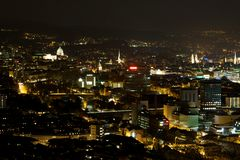 Zurich at Night. A long exposure shot of Zurich (Switzerland) at night Royalty Free Stock Photo