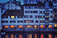 Zurich at night Royalty Free Stock Image