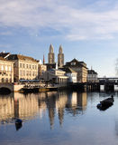 Zurich old city reflecting in the river. View of the Zurich historical city center reflecting into the river Limmat Stock Photo