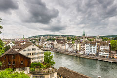 Zurich, old town and Limmat river on a cloudy day, Switzerland Stock Photos
