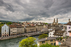Zurich, old town and Limmat river on a cloudy day, Switzerland Stock Photo