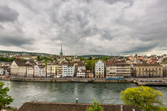 Zurich, old town and Limmat river on a cloudy day, Switzerland Royalty Free Stock Photos