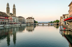 Zurich, old town and Limmat river at sunrise Royalty Free Stock Image