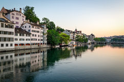 Zurich, old town and Limmat river at sunrise Stock Image