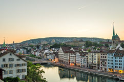 Zurich, old town and Limmat river at sunrise Royalty Free Stock Photo