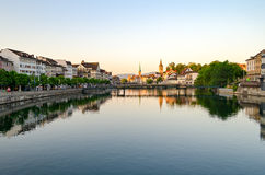 Zurich, old town and Limmat river at sunrise Stock Photos