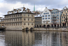 Zurich old town on an overcast day in wintertime Stock Photo