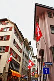 Zurich Old town street Switzerland. The historic heart of Zurich, the Altstadt, or Old Town, remains the most atmospheric part of the city, with its striking Royalty Free Stock Photography