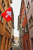 Zurich Old town street Switzerland. The historic heart of Zurich, the Altstadt, or Old Town, remains the most atmospheric part of the city, with its striking Royalty Free Stock Photos