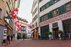 Zurich Old town street Switzerland. The historic heart of Zurich, the Altstadt, or Old Town, remains the most atmospheric part of the city, with its striking Stock Image
