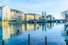 Zurich Old Town (Altstadt) and the Grossmunster (great minster) Stock Image
