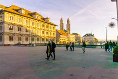 Zurich Old Town (Altstadt) and the Grossmunster (great minster) Royalty Free Stock Image