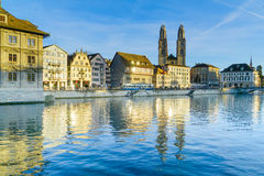 Zurich Old Town (Altstadt) and the Grossmunster (great minster) Royalty Free Stock Images