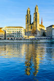 Zurich Old Town (Altstadt) and the Grossmunster (great minster) Stock Images