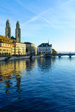Zurich Old Town (Altstadt) and the Grossmunster (great minster) Stock Photos
