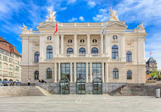 Zurich Opera House building facade. Zurich, Switzerland - 25 May, 2016 - Zurich Opera House building facade, people in front of it. Zurich Opera House (German Royalty Free Stock Photography
