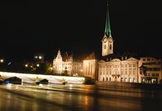 Zurich por noche Imagen de archivo libre de regalías