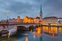 Zurich przy nocą Obrazy Royalty Free