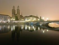 Zurich przy noc Obraz Royalty Free