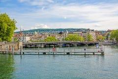 Zurich Quaibrucke bridge, river Limmat / Lake Zurichsee Royalty Free Stock Image