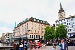 Zurich Rathausbrucke bro Schweiz Arkivbilder