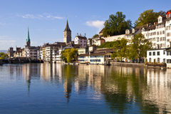 Zurich Reflections in Limmat River Royalty Free Stock Photo