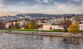 Zurich river banks Royalty Free Stock Image