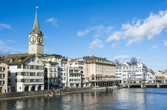 Zurich at river Limmat Stock Image
