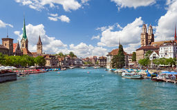 Zurich and river Limmat, Switzerland. Beautiful view of Zurich and river Limmat, Switzerland Royalty Free Stock Image