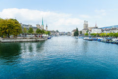 Zurich and river Limmat, Switzerland Royalty Free Stock Photos