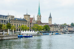 Zurich and river Limmat, Switzerland Royalty Free Stock Images