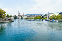 Zurich and river Limmat, Switzerland Stock Photos