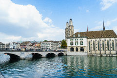 Zurich and river Limmat, Switzerland Royalty Free Stock Photography