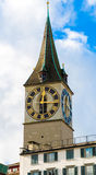 Zurich's Clock Tower, Switzerland Royalty Free Stock Images