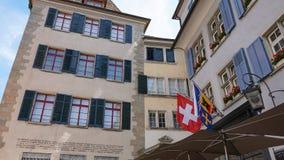 ZURICH SCHWEIZ: Arkitektur av Zurich, Schweiz Zurich är en ledande global stad och bland det största finansiellt för världs` s Royaltyfri Foto
