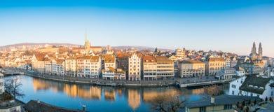 Zurich Schweiz - December 31, 2016: Panoramautsikt av histen Arkivbild