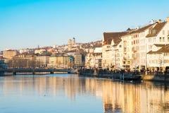 Zurich Schweiz - December 31, 2016: Zurich stad i en beaut Royaltyfri Fotografi