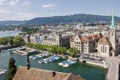 Zurich Schweiz Fraumunster kyrka Royaltyfri Bild
