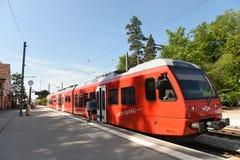 Zurich Schweiz - Juni 03, 2017: Ett drev på stationen på M Royaltyfria Bilder