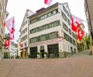 Zurich Schweiz - Maj 02, 2017: Centret av Zurich, Schweiz Arkivbilder