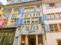 Zurich Schweiz - Maj 02, 2017: Centret av Zurich, Schweiz Arkivfoto