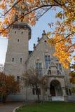 ZURICH SCHWEIZ - 28 OKTOBER 2015: Autumn Landscape av kyrkan för St Jacob Arkivfoto