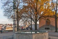 ZURICH SCHWEIZ - OKTOBER 28, 2015: Höstsikt av den gamla staden av staden av Zurich Arkivbild