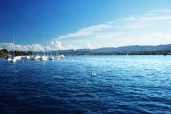 Zurich sjö med yachter Royaltyfria Bilder
