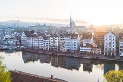 Zurich skyline from the Lindenhof at sunrise Royalty Free Stock Images