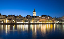 Zurich Skyline At Night Stock Photos
