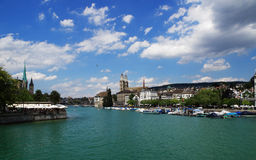 Zurich Skyline With River Limmat Royalty Free Stock Image