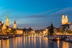 Zurich Skyline and the River Limmat in the Evening Stock Images