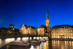Zurich Skyline and the River Limmat in the Evening Stock Photography
