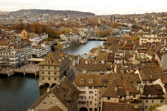 Zurich skyline - river view Royalty Free Stock Photo